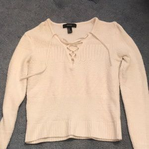 cream v-neck laced up sweater